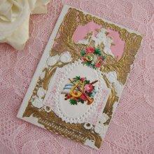 他の写真1: ヴィクトリアン・レースカード(天使とハープ)