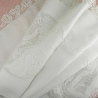 フィレレースと白刺繍のイタリアン・リネン・ラナー 1m72cmx50cm
