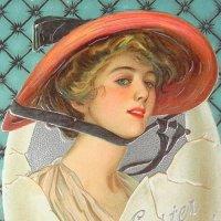 アンティークカード、赤い帽子のレディ、イースター