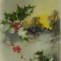 アンティークカード、柊のクリスマスカード
