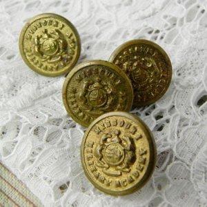 画像1: ミリタリーアカデミー、真鍮ボタン4個セット