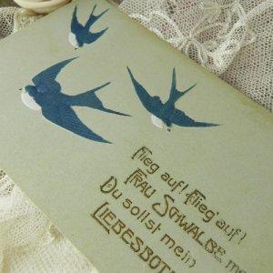 画像2: アンティークカード、ツバメ