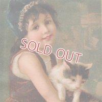 猫と青いボネの少女 トレードカード