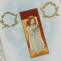アンティークカード、少女&ドール