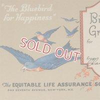青い鳥のアンティークカード
