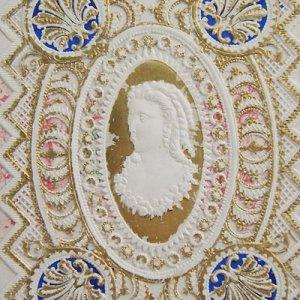 画像1: ヴィクトリアン・レースカード(巻き毛のレディ)