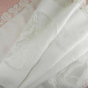 画像1: フィレレースと白刺繍のイタリアン・リネン・ラナー 1m72cmx50cm