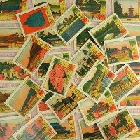 白粉紙箱&リトグラフカード(京都)34枚のセット