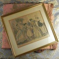 1866年、ファッションプレート、アンティーク・フレーム付