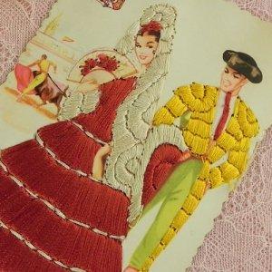 画像4: スペインのシルク刺繍ポストカード