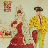 スペインのシルク刺繍ポストカード
