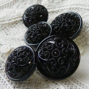 画像1: 細かい模様のブラックボタン5個セット