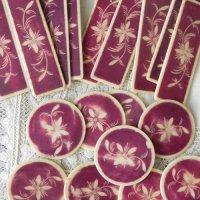 フランス、ボーンアイボリーのカジノチップ(紫)