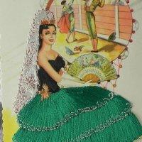 スペインのシルク刺繍 アンティークカード
