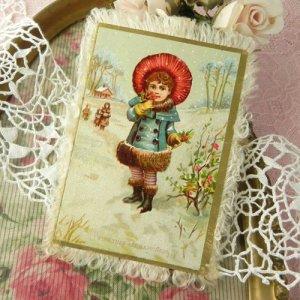 画像2: アンティークカード、両面イラスト、シル・クフリンジ付
