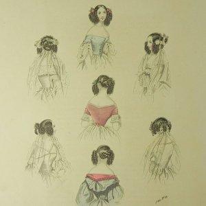 画像1: 1800年代、フランス・ファッションプレート (銅板画)