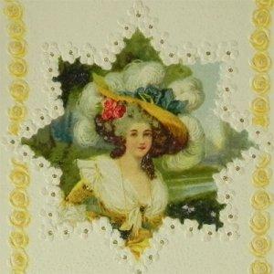 画像1: アンティークカード、ロココ貴婦人