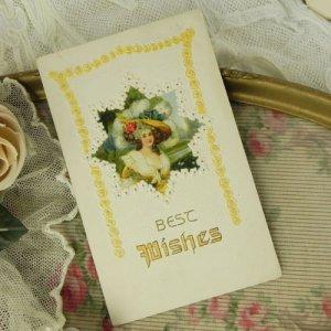 画像4: アンティークカード、ロココ貴婦人