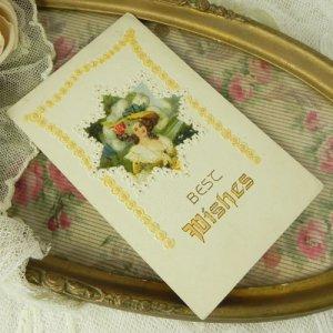 画像3: アンティークカード、ロココ貴婦人