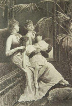 画像1: アンティーク、エングレーヴィング画 (銅板画)ミラー