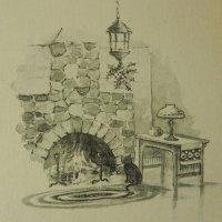 アンティークカード、クリスマス、暖炉と猫