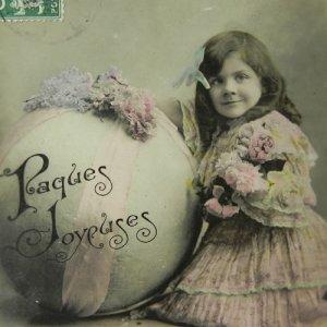 画像1: アンティークカード、少女とブーケ