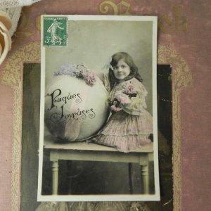 画像3: アンティークカード、少女とブーケ