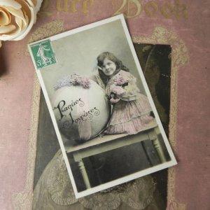 画像2: アンティークカード、少女とブーケ