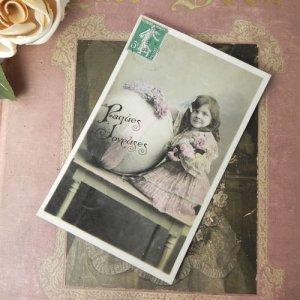 画像4: アンティークカード、少女とブーケ