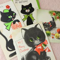 USAヴィンテージカード4枚セット(黒猫)