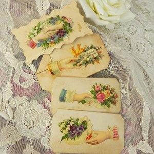 画像2: コーリングカード4枚、ブーケとヴィクトリアン・ハンド