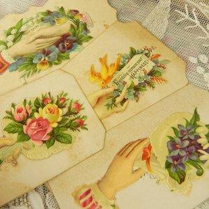 画像1: コーリングカード4枚、ブーケとヴィクトリアン・ハンド