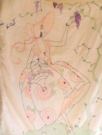 アールデコ期 手刺繍クロス 120cmx85cm