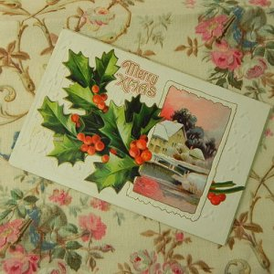 画像3: クリスマスカード、柊と冬景色
