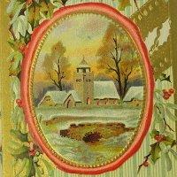 クリスマスカード、雪景色