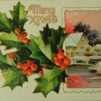 クリスマスカード、柊と冬景色