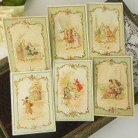 フランス、ボンマルシェカード、ロココ貴族シリーズ6枚