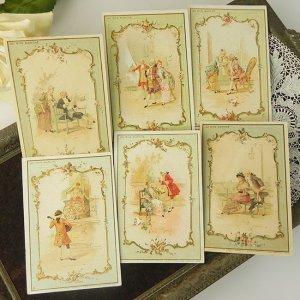 画像1: フランス、ボンマルシェカード、ロココ貴族シリーズ6枚