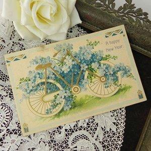 画像1: アンティークカード、勿忘草