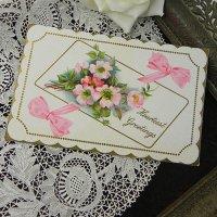 アンティークカード、薔薇とリボン
