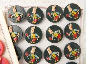 画像3: 【バラ売り、1個から〜】フランス、うさぎボタン 赤&濃緑