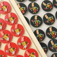【バラ売り、1個から〜】フランス、うさぎボタン 赤&濃緑