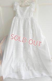 【2枚組】イギリス、ヴィクトリアン・ベビー洗礼式用ドレス&スリップ