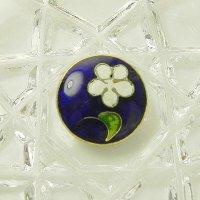 瑠璃色に白いお花のエナメルボタン