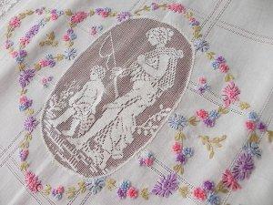 画像2: 手刺繍とフィレレースのベッドスプレッド★ピローカバー付