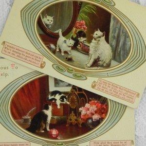 画像1: 猫ちゃんポストカード2枚セット