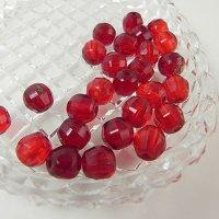 多面カットの赤いガラスビーズ、26個