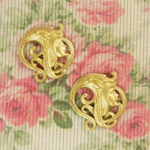 画像3: アールヌーヴォー真鍮メタルパーツ2枚