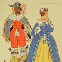 【フランス・ルイ13世時代のファッション】ポストカード