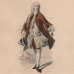 画像2: 1800年代、フランス、ファッションプレート 銅版画  ルイ15世時代の侯爵像